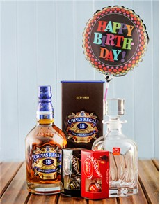 Gifts and Hampers - All Gifts: Chivas Regal Birthday Hamper with Balloon!