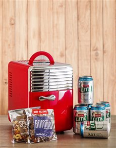 Picture of Red Desk Fridge with Castle Lite and Snacks!
