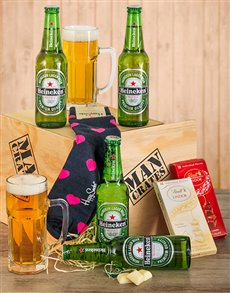 Gifts and Hampers - All Gifts: Beer Crate with Happy Socks!