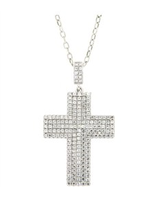 jewellery: Silver Micro Pave Cubic Cross Necklace!