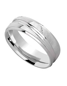 gifts: Silver patterned wedding band with grooves!