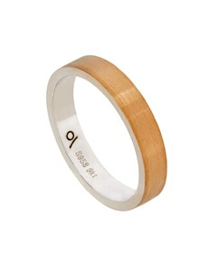 Silver and Yellow Gold Flat Brushed 4mm Gents Ring