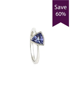 jewellery: Silver Trilliant Tanzanite Ring 0.75ct!