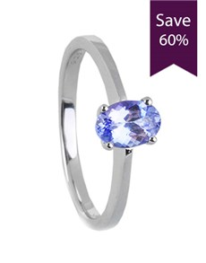 jewellery: Silver Oval Ring Tanzanite 1.00CT!