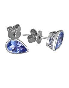 jewellery: Sterling Silver Tanzanite Pear Shaped Earrings !