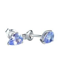jewellery: Sterling Silver Tanzanite Pear Studs 1.50ct !