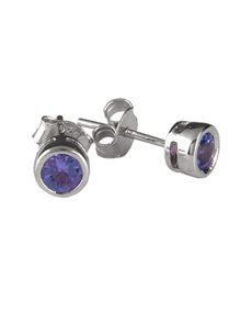 jewellery: Sterling Silver 0.76ct Tanzanite Earrings S21272!