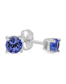Sterling Silver Tanzanite 4 Claw studs 0.50ct