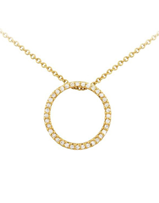 jewellery: 9KT Yellow Gold Diamond Circle Pendant Necklace!