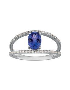jewellery: 9kt Oval 0,78ct Tanzanite and Diamond Ring!