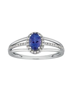 jewellery: 9kt Claw Set 0,51ct Tanzanite and Diamond Ring!