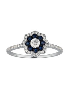 9KT Flower Shaped Diamond and Sapphire Ring
