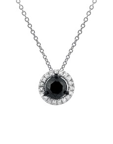 jewellery: 9KT White Gold Round Black Diamond Halo Necklace!