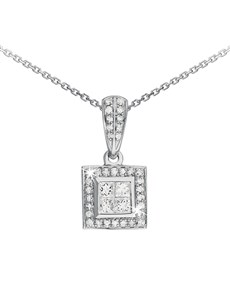 jewellery: 9KT White Gold Princess Square Diamond Necklace!