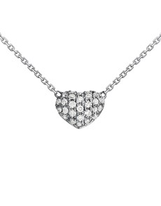 jewellery: 9KT Pave Set white Diamond Heart Necklace!