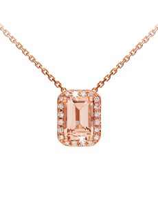 jewellery: 9KT Rose Gold Emerald Cut Morganite Necklace!