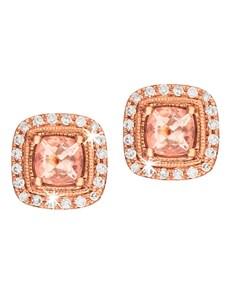 jewellery: 9KT Cushion Morganite Mill grain Stud Earrings!