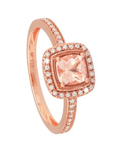 jewellery: 9KT Rose Gold Cushion Morganite Mill grain Ring!