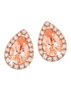 jewellery: 9KT Pear Shape Morganite and Diamond Studs!