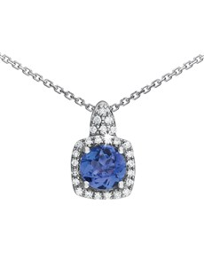 jewellery: 9KT 0.44ct Round Tanzanite Square Necklace!