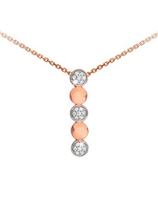 jewellery: 9KT Rose Gold Round Disk and Diamond Drop Necklace!