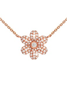 gifts: 9KT Rose Gold Pave Flower Diamond Necklace!