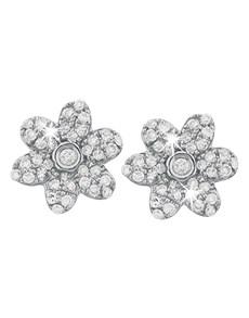 jewellery: 9KT White Gold Pave Flower Diamond Stud Earrings!
