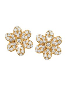 gifts: 9KT Yellow Gold Pave Flower Diamond Stud Earrings!