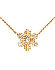 jewellery: 9KT Yellow Gold Pave Flower Diamond Necklace!