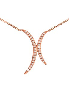 gifts: 9KT Double Half Crescent with Diamonds Necklace!