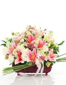 flowers: Stunning Stargazer Lilies Basket!
