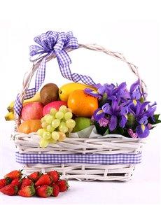 gifts: Irises and Fruit Basket!