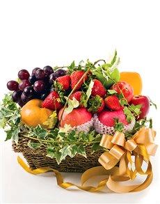 gifts: Golden Bow Fruit Basket!