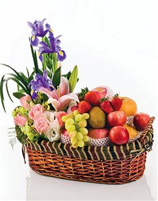 gifts: Mixed Flowers and Fruits Basket!