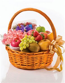 gifts: Pink Roses, Irises and Fruits Basket!