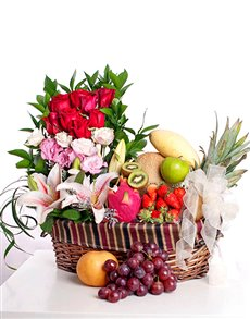 gifts: Roses, Lilies and Fruits Basket!