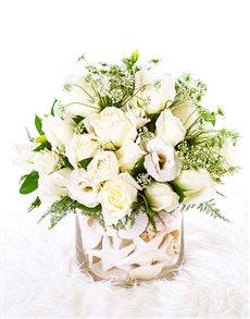flowers: Flower Vase   White Roses!
