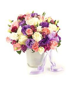 flowers: Flower Vase   Vibrant Rose Mix!