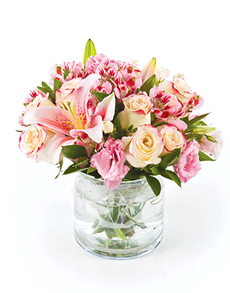 flowers: Flower Vase   Pink Rose and Lily Mix!
