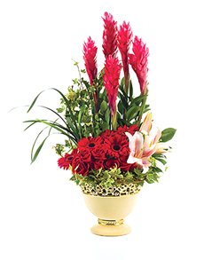 flowers: Flower Vase   Red Daisy and Lily Mix!
