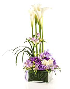 flowers: Flower Vase   Elegant White and Purple Mix!