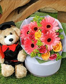 flowers: Daisy Bouquet and Graduation Bear!