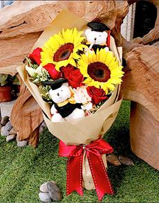 flowers: Sunflowers and Bears Graduation Bouquet!