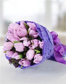 flowers: Purple Tulips Hand Bouquet!