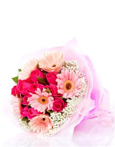 flowers: Giggling Gerberas and Roses Bouquet!