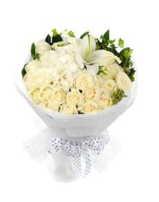 flowers: White Roses and Lilies Bouquet!