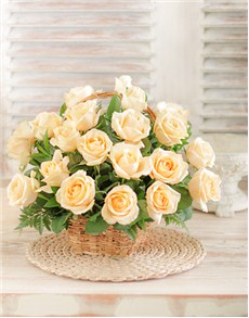 flowers: Cream Roses in a Woven Basket!