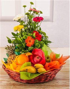 gifts: Fresh Fruit and Flower Basket!