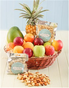 gifts: Basket of Fresh Fruit and Nuts!