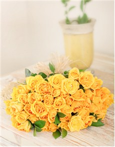 flowers: Yellow Roses in Cellophane!